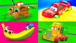 Funny Fruit Party in The City of Little Cars - Mcqueen Cars Friends change their wheels with fruits