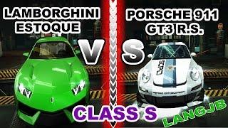 NFS World Lamborghini Estoque VS Porsche 911 GT3 R.S. Class S [LANGJB]