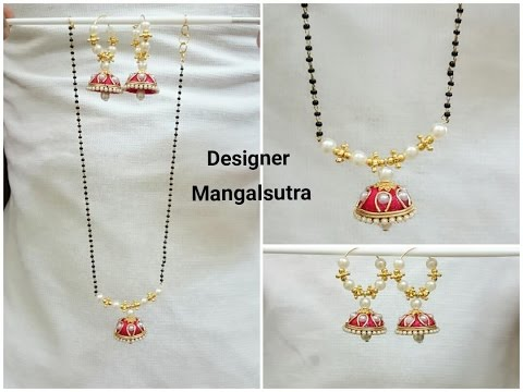 Silk Thread Necklace | Mangalsutra | Black beads chain Tutorial | www.beautyinustores.com |