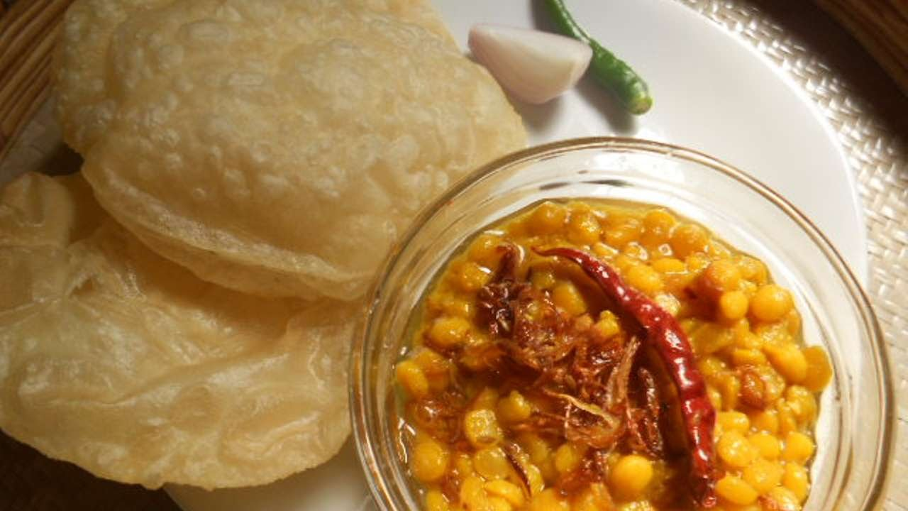 Image result for Luchi and Cholar Dal