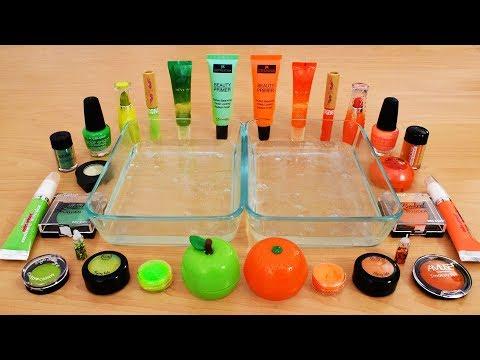 Mixing Makeup Eyeshadow Into Slime ! Green vs Orange Special Series Part 11 Satisfying Slime Video