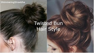 Quick & Easy Twisted Messy Bun Hairstyle For Short Hair Simple Bun Hairstyle