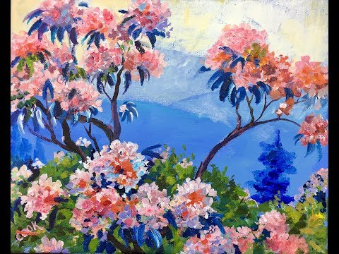 How To Paint Flowers In The Blue Ridge Mountains Beginner Acrylic Painting Tutorial By G