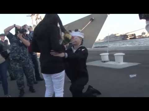 Sailor Proposes to Girlfriend When Returns to Naval Station Mayport