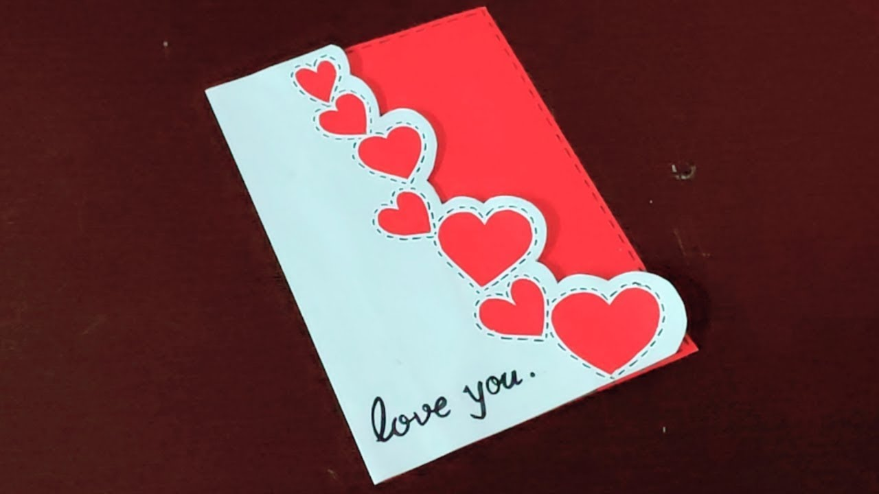 1862 Handmade Cute And Simple Card For Valentines Day Diy Valentines Day Cards Youtube Valentine Day Cards Valentines Cards Simple Cards