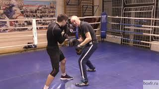 Бокс: левый под руку и удар-гребок (English subs)