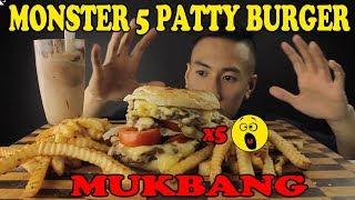 MUKBANG 5 PATTY MONSTER BURGER+NUTELLA MILKSHAKE+CRINKLE FRIES-MASSIVE BITES
