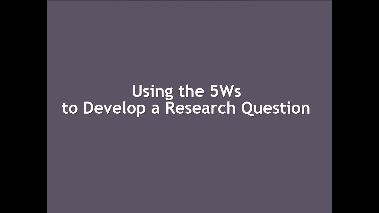 youtube how to write a research question
