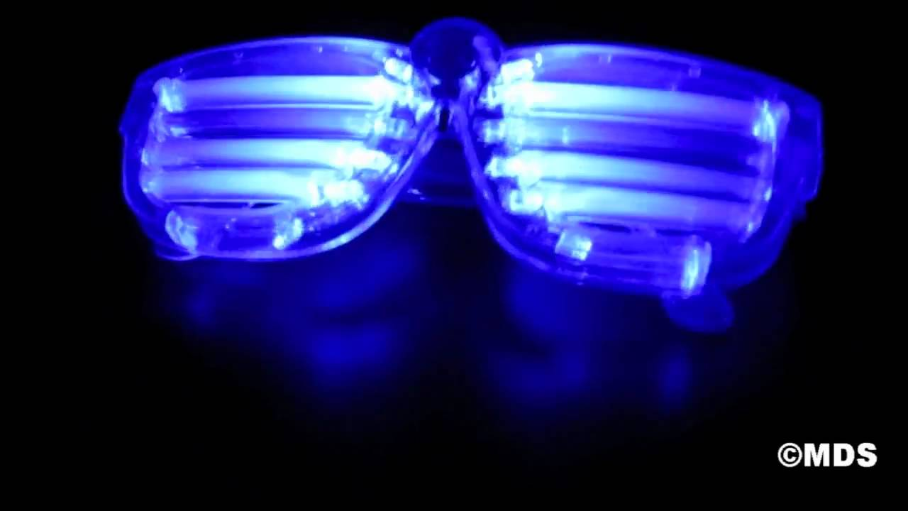 100b0c08ae1c Color Slotted Shutter LED Flashing Shades Light Up Novelty Glasses ...
