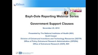 Bayh-Dole Webinar – Government Support Clauses