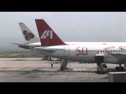 Indian Airlines flight taking off from Tribhuvan International Airport