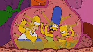 The Simpsons - Homer, Marge, Bart are locked in the stomach