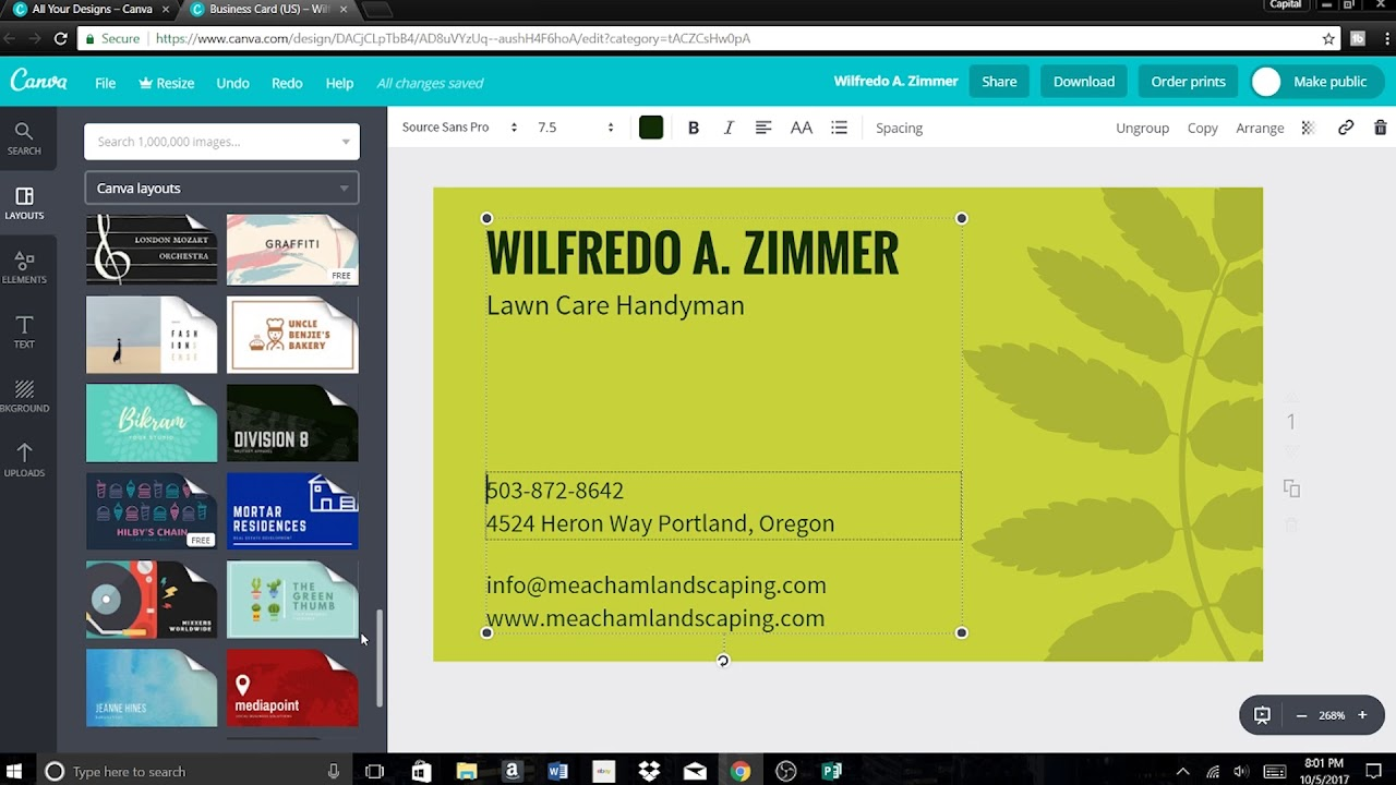 How to design a business card for free online 2018 youtube how to design a business card for free online 2018 reheart Gallery