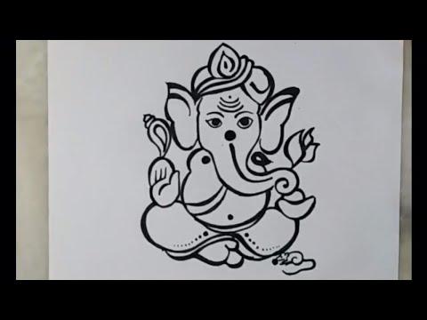 How To Draw Lord Ganesha Vinayakachavithi Drawing Artistica Youtube