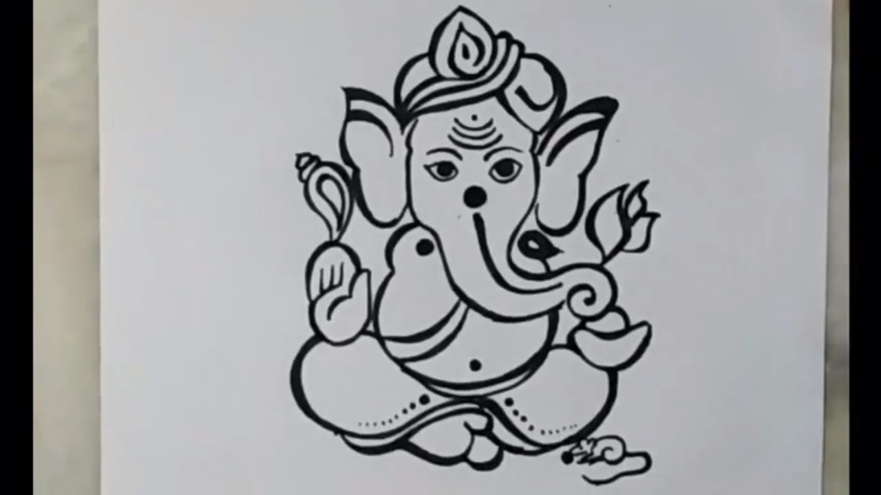 How to draw lord ganesha vinayakachavithi drawing artistica