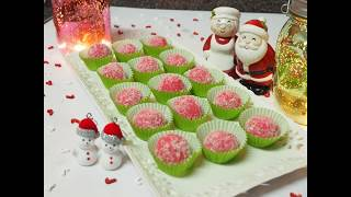 Instant Easy Christmas strawberry snow ball | Christmas treats | Coconut strawberry sweets recipe