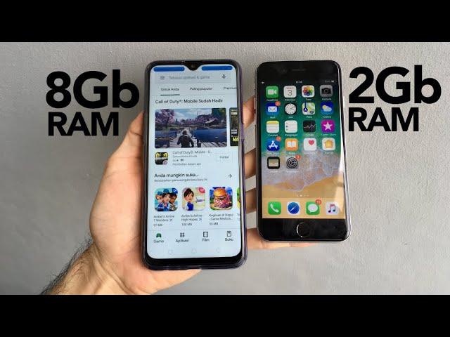 RAM 8 Giga Android VS 2 Giga iPhone #1