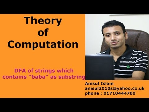 """Theory of computation Bangla tutorial 13 : DFA of strings which contains """"baba"""" as substring"""