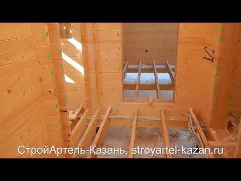 Строительство дома из Двойног бруса.  Второй этаж и задувка эковаты.  Казань