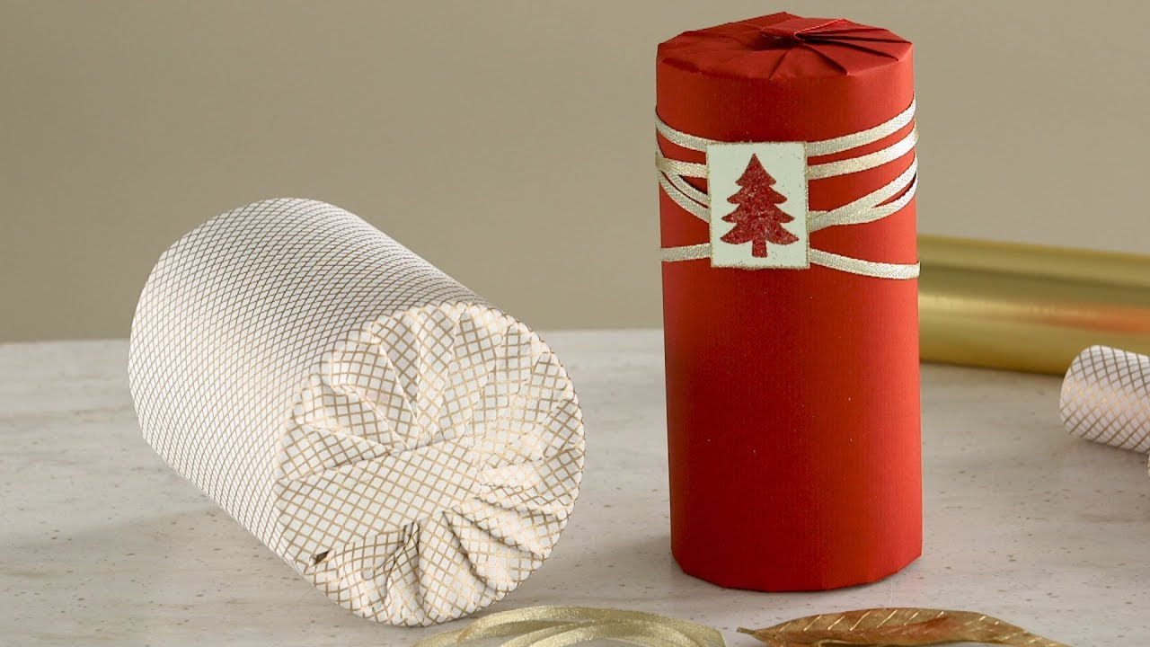 How To Wrap A Cylinder Shaped Gift Martha Stewart