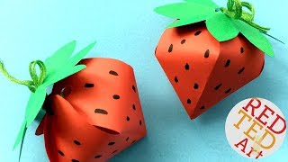 Strawberry Gift Box DIY - No Glue Paper Gift Box -  easy paper box shaped strawberries