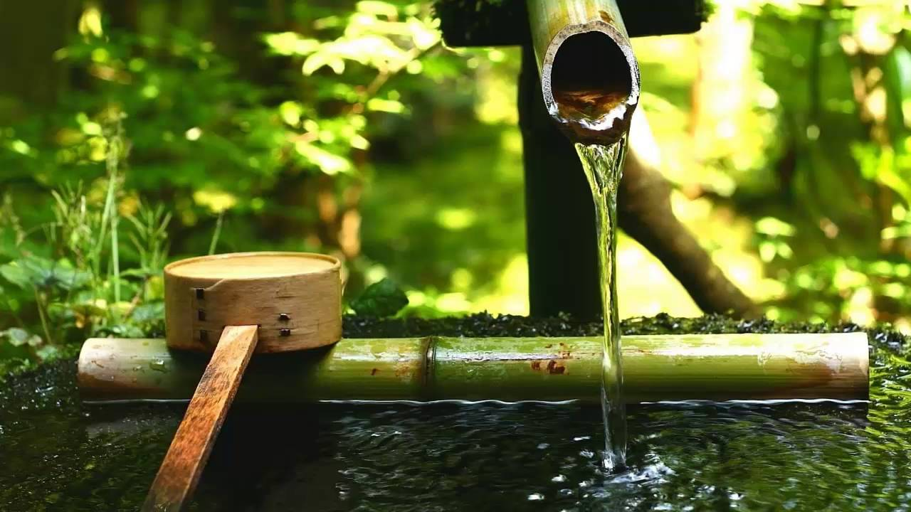 3 HOURS BAMBOO WATER FOUNTAIN Piano Music Background Zen