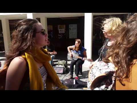 Talented Buskers on grafton street in dublin playing slide guitar - andrea salmaso