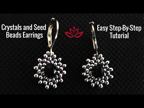 Crystals and Seed Beads Bracelet. How to make DIY beaded earrings?