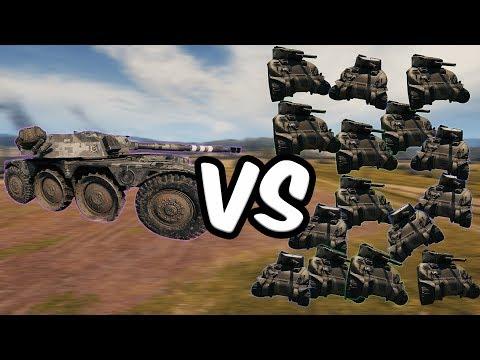 World of Tanks: 15 M4 Shermans VS  1 EBR 105