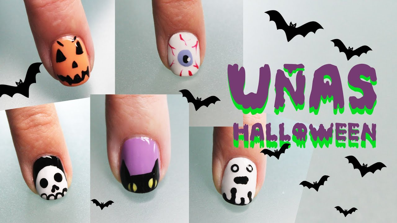 Uñas De Gel Decoradas Paso A Paso 5 DiseÑos De UÑas Halloween 2017 Nail Art Tutorial Youtube