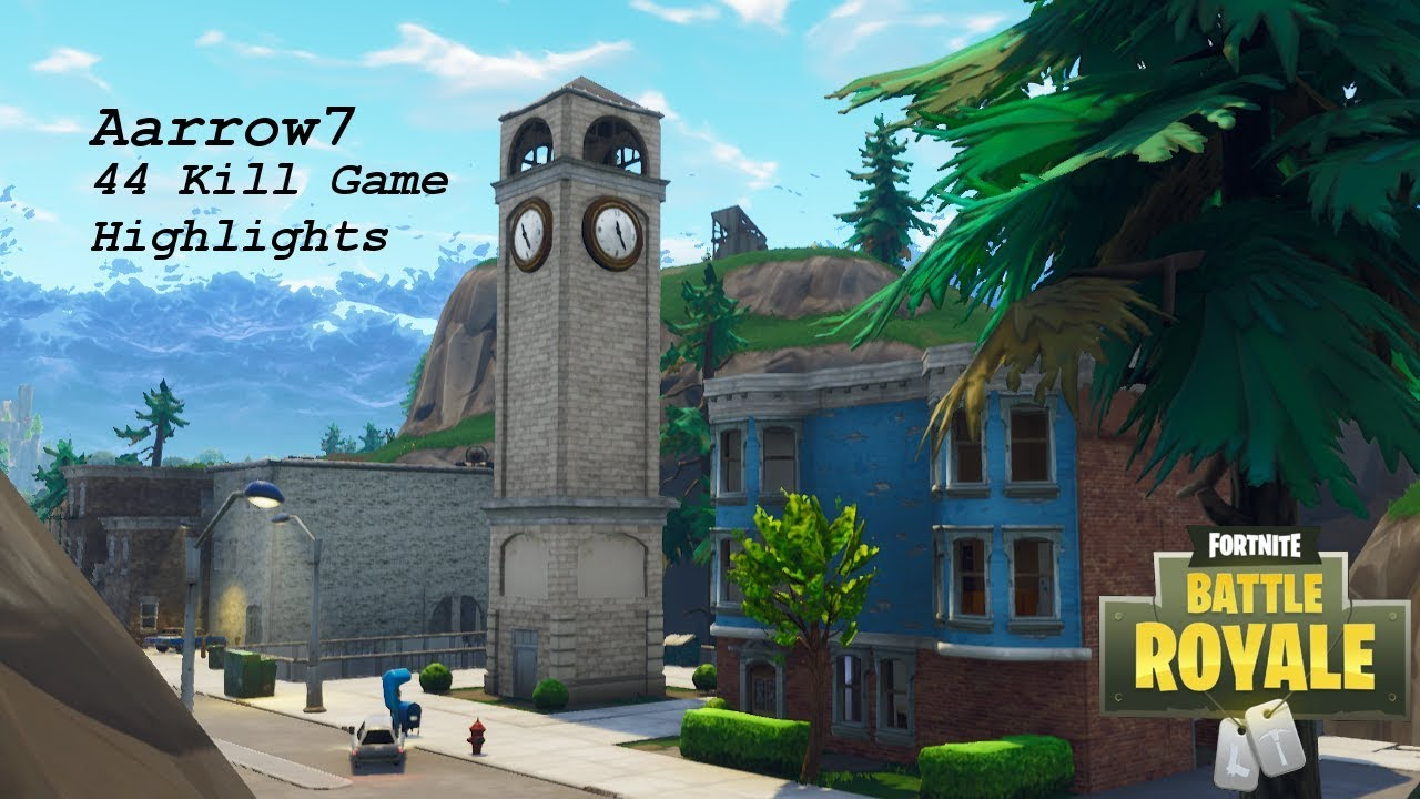 44 Kill Tilted Towers Game! Squad Game play Highlights ...