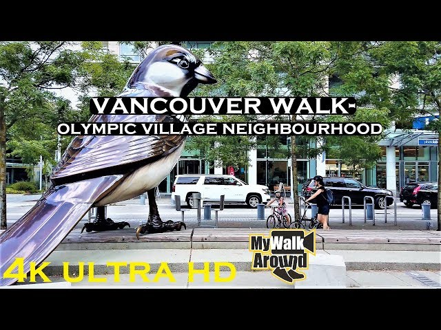 A peaceful Vancouver 4k walk in the olympic village neighbourhood
