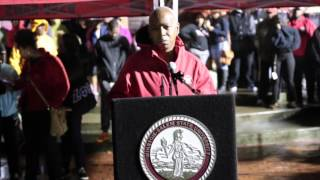 Chancellor Elwood L. Robinson speaking at Vigil for Anthony White