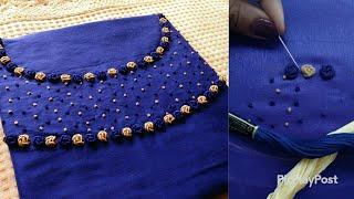 എളുപ്പത്തിൽ അടിപൊളി neck design ചെയ്യാം|hand embroidery neck design|