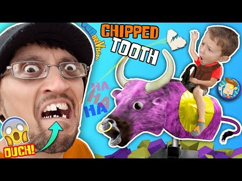 I CHIPPED a TOOTH PLAYING AROUND!! BULL RIDING @ TRAMPOLINE PARK FV Vlog