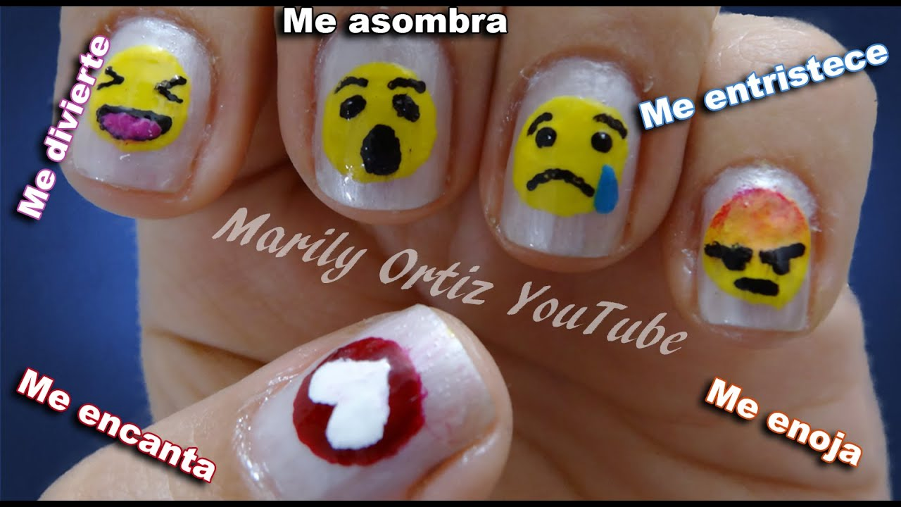 DISEÑO DE UÑAS ✓ EMOTICONES DE FACEBOOK ❤😧 😯 😢 😠 - YouTube
