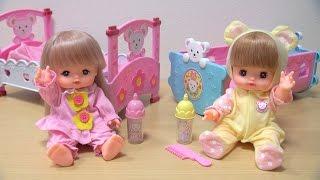 メルちゃん ネネちゃんゆりかごベビーベッドセット / Baby Doll Cradles! Mell-chan & Nene-chan's Bedtime thumbnail