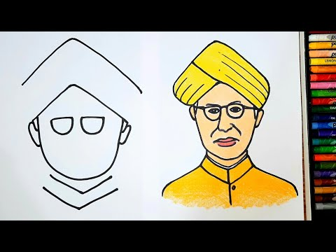 How To Draw Dr Sarvepalli Radhakrishnan Step By Step/Easy Way Teachers Day Drawing/