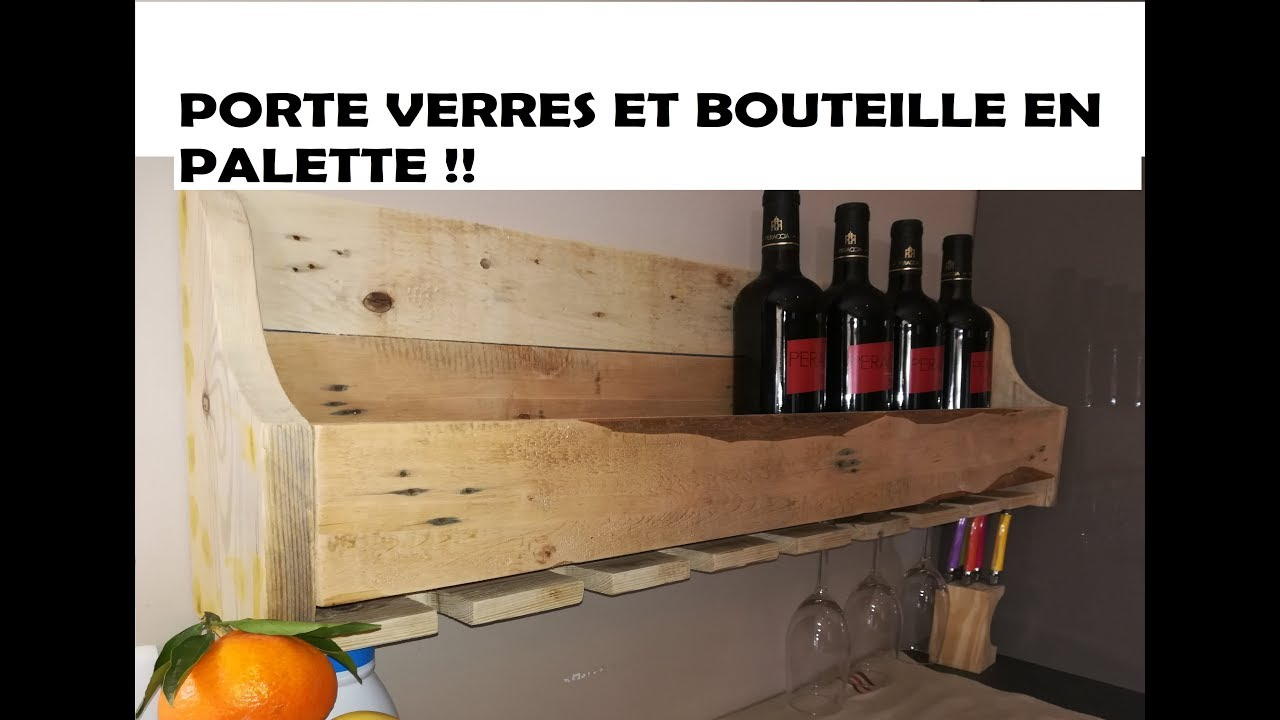 tuto porte bouteilles et verres de vin en palette youtube. Black Bedroom Furniture Sets. Home Design Ideas