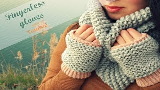 EASY KNITTED FINGERLESS GLOVES/MITTENS IN GARTER STITCH