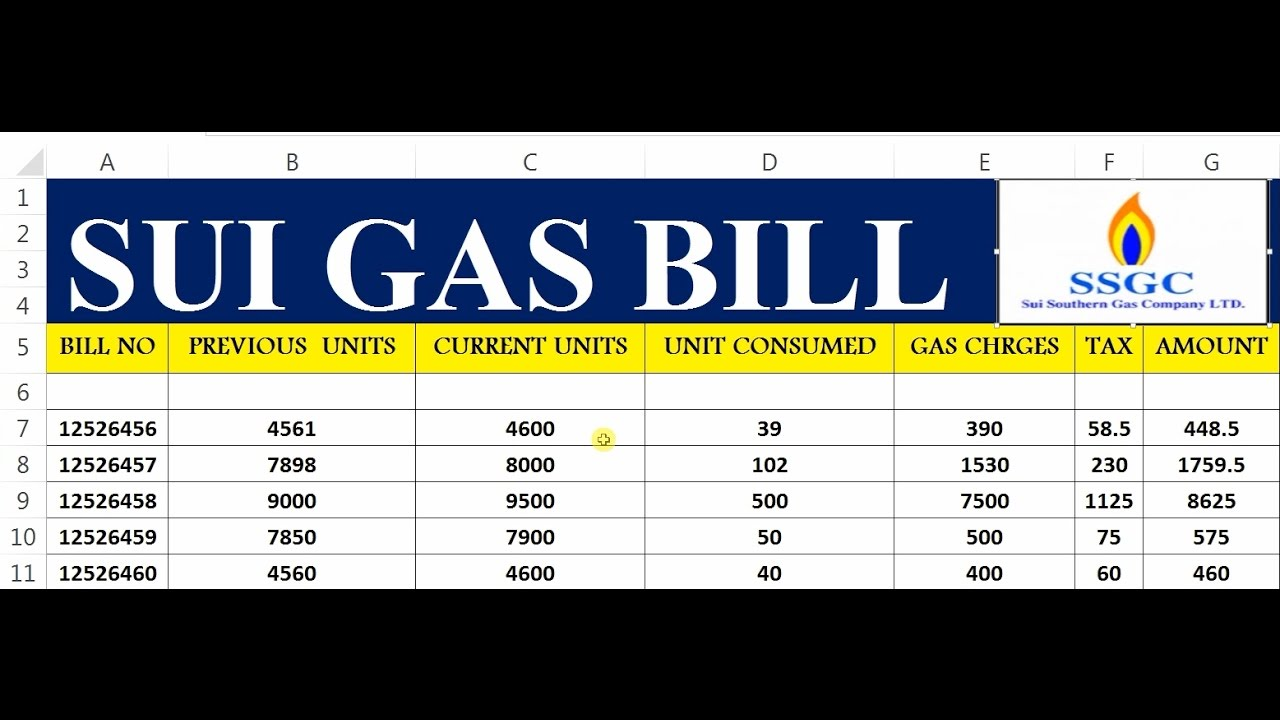 how to make sui gas bill in ms excel 41 youtube