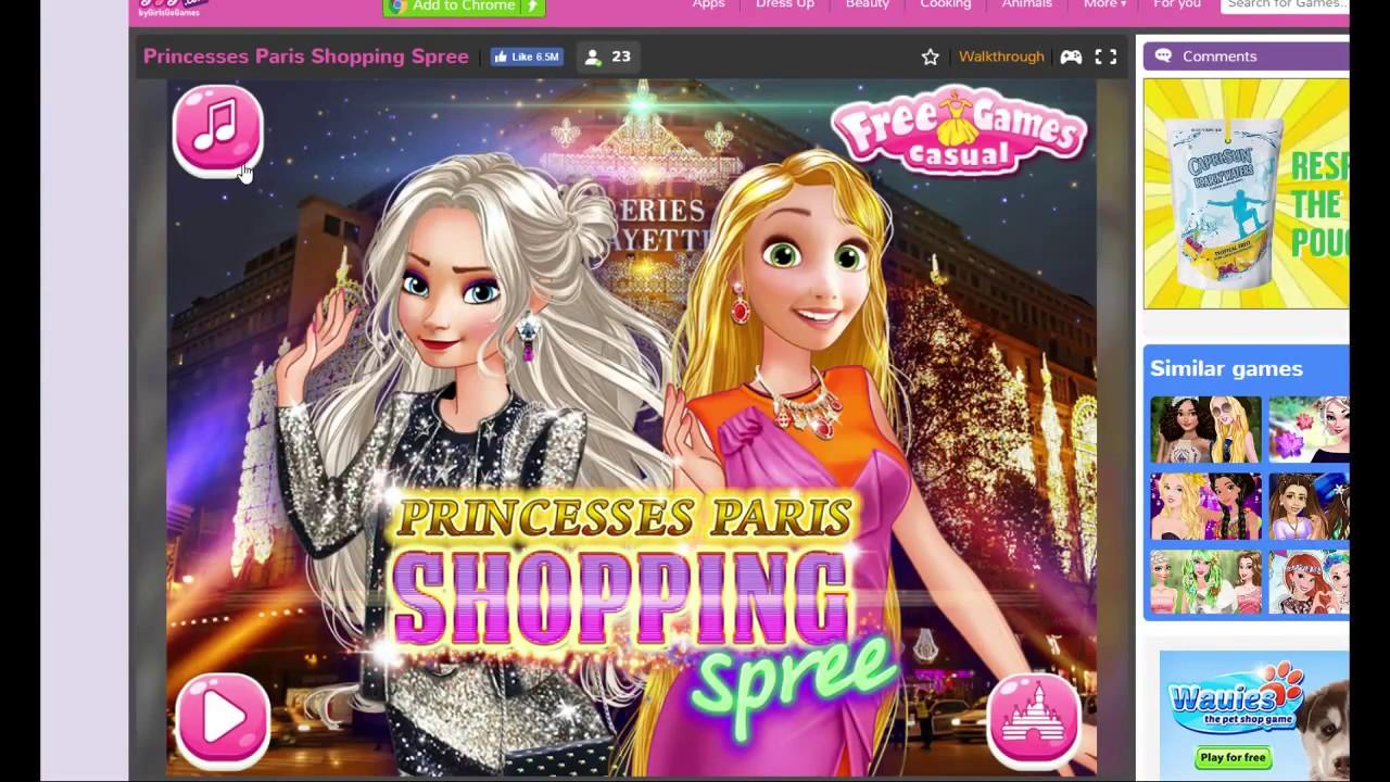 Elsa And Anna Princesses Paris Shopping Girls Go Games Computer Game