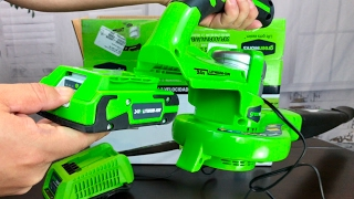 GreenWorks 24352 24V 130MPH Dual Speed Cordless Leaf Blower unboxing
