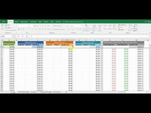 """Income and Spending Log: spreadsheet layout and """"starting funds"""" row"""