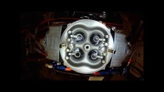 overhead view of holley 4 barrel carb on engine dyno