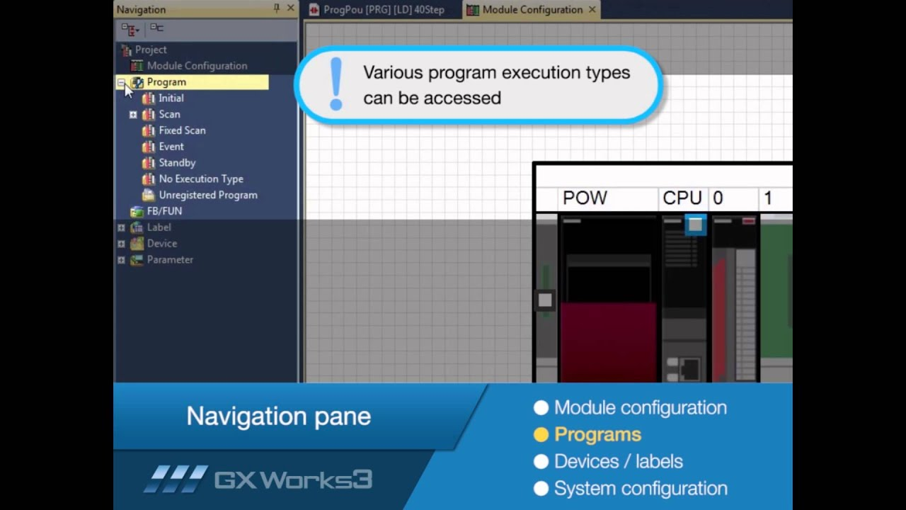 Mitsubishi Electric Quick Tips: GX Works3 Navigation Pane Overview