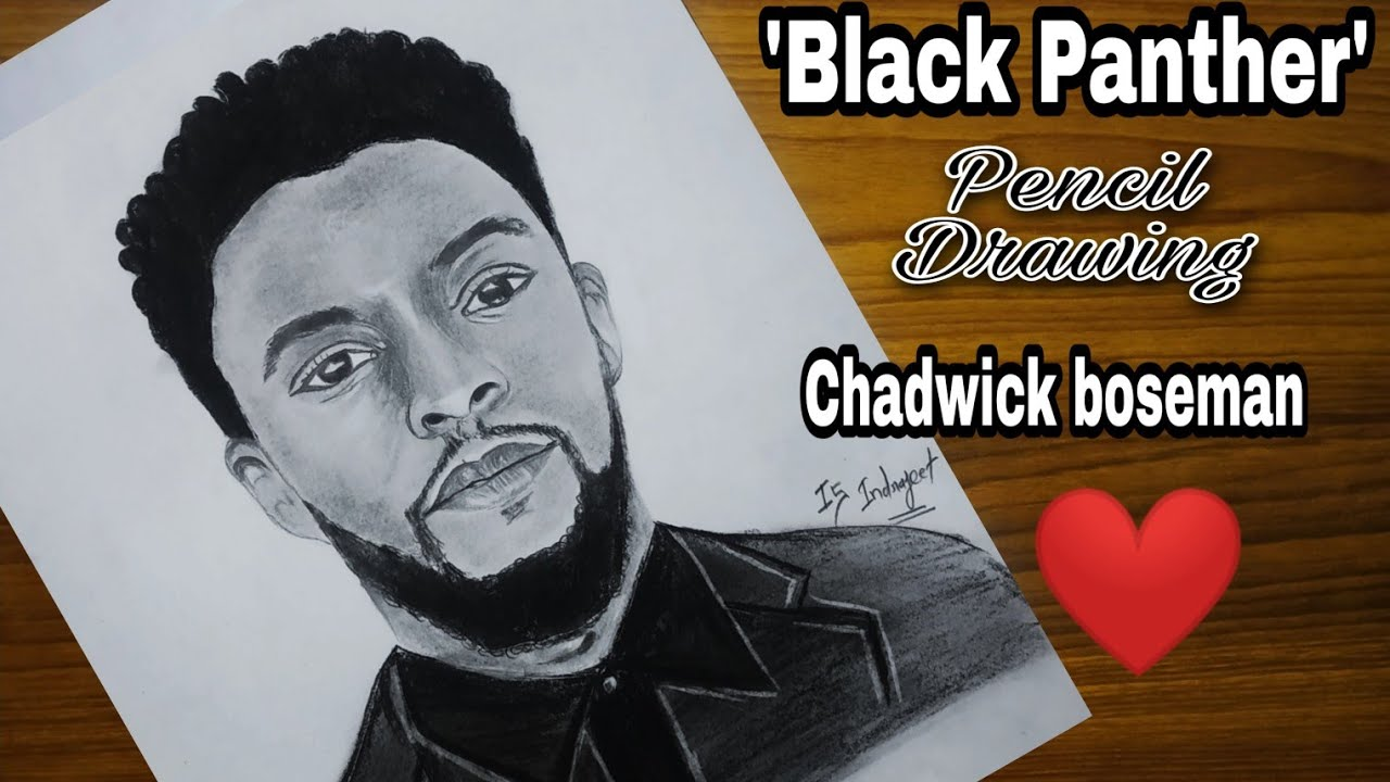 Chadwick Boseman Drawing Black Panther Drawing Blackpanther Chadwickboseman Rip Trending Youtube