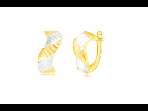 9446c1ec1 Šperky - Náušnice zo zlata 585 - ligotavá vlnka so zárezmi a dvojfarebnými  pásmi - Šperky eshop - thtip.com