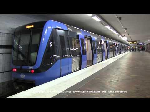 SL Tunnelbana tåg / Metro trains at Skärholmen station, Stockholm, Sweden