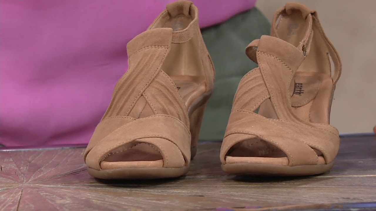 6bb6265df540 Earth Suede Peep-Toe Wedge Sandals - Curvet on QVC - YouTube